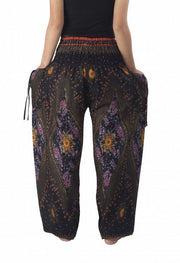 Floral Harem Pants-Smocked-Lannaclothesdesign Shop-Lannaclothesdesign Shop