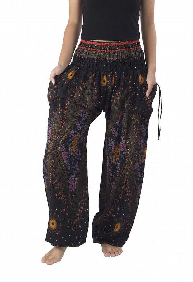 Floral Harem Pants-Smocked-Lannaclothesdesign Shop-Small-Black-Lannaclothesdesign Shop
