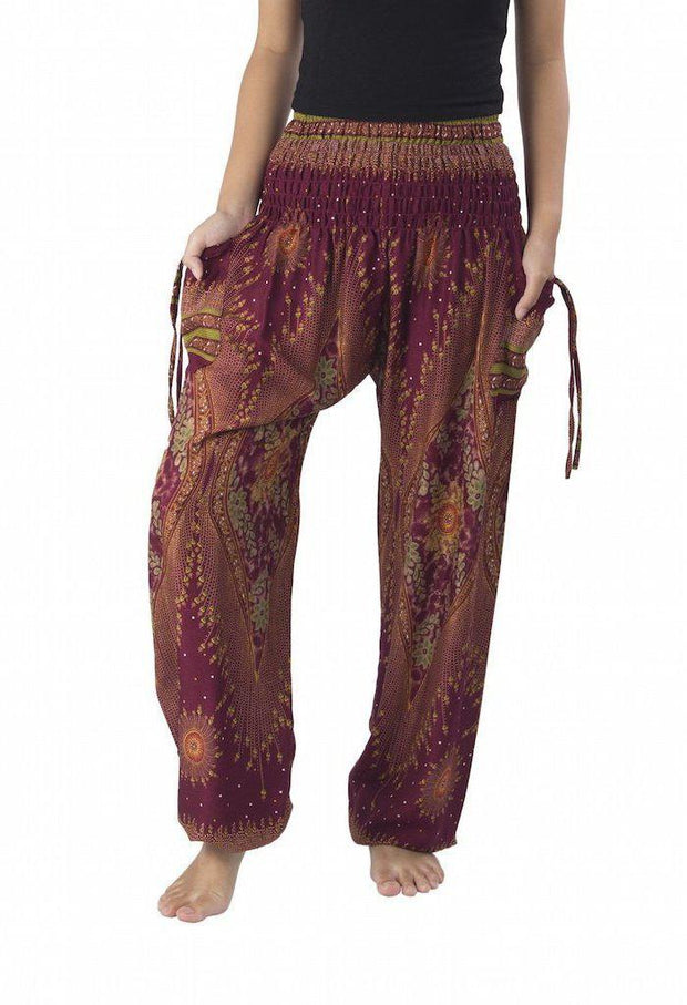 Floral Harem Pants-Smocked-Lannaclothesdesign Shop-Small-Burgundy-Lannaclothesdesign Shop