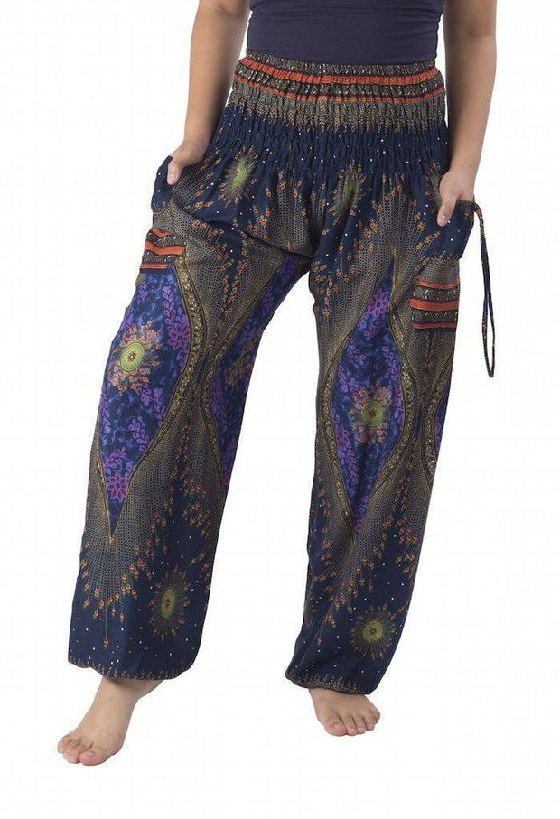 Floral Harem Pants-Smocked-Lannaclothesdesign Shop-Small-Dark Blue-Lannaclothesdesign Shop