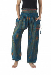 Floral Harem Pants-Smocked-Lannaclothesdesign Shop-Small-Teal-Lannaclothesdesign Shop