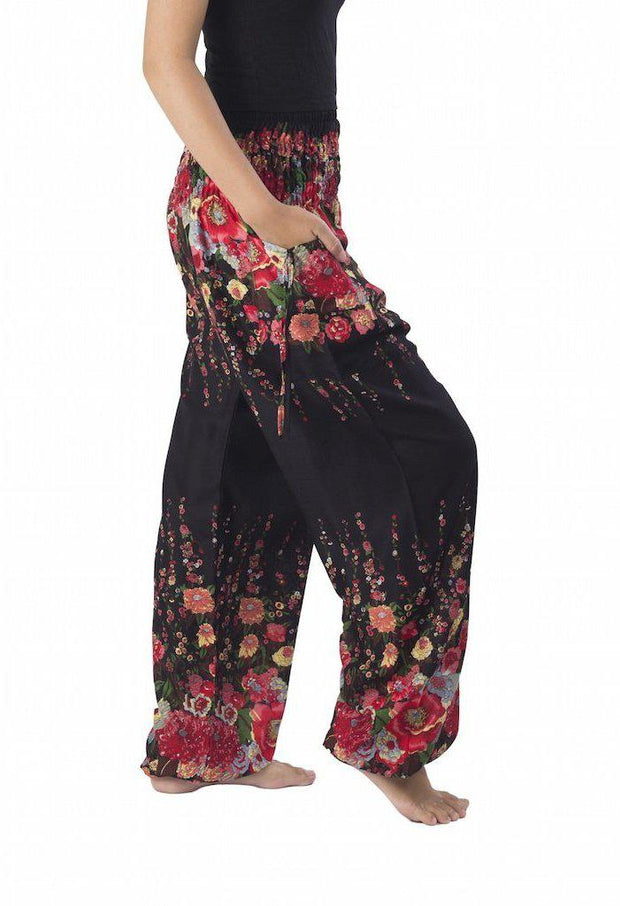 Floral Print Harem Pants-Smocked-Lannaclothesdesign Shop