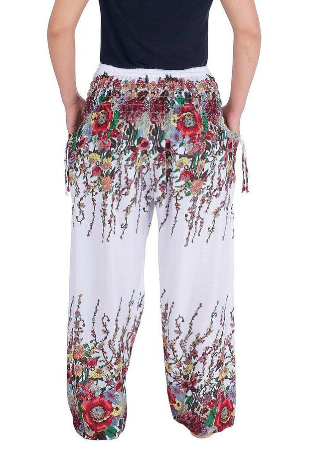 Flower Print Harem Pants-Smocked-Lannaclothesdesign Shop-Lannaclothesdesign Shop