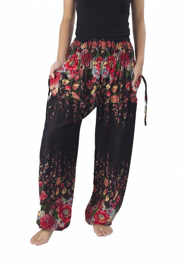 Flower Print Harem Pants-Smocked-Lannaclothesdesign Shop-Small-Black-Lannaclothesdesign Shop