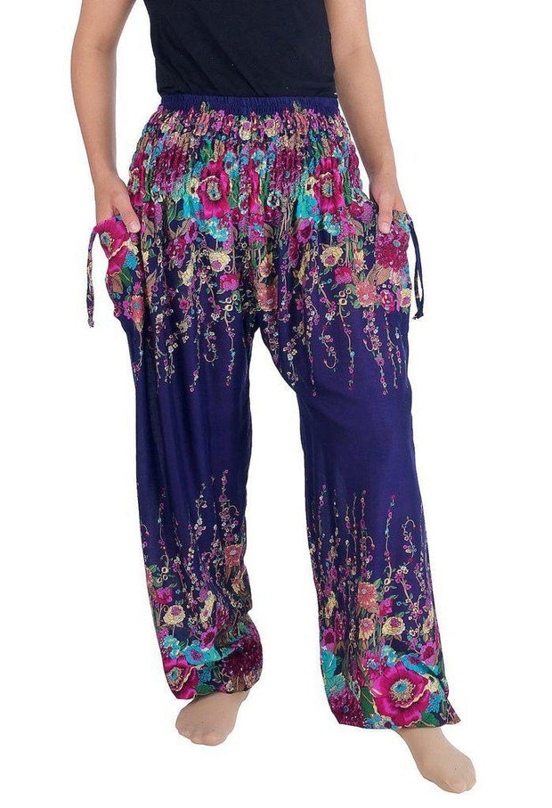 Flower Print Harem Pants-Smocked-Lannaclothesdesign Shop-Small-Dark Blue-Lannaclothesdesign Shop