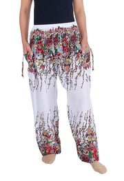 Flower Print Harem Pants-Smocked-Lannaclothesdesign Shop-Small-White-Lannaclothesdesign Shop
