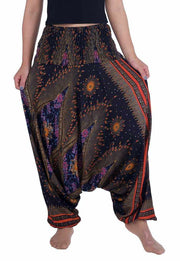 Flower Eye Harem Pants-Harem Jumpsuit-Lannaclothesdesign Shop