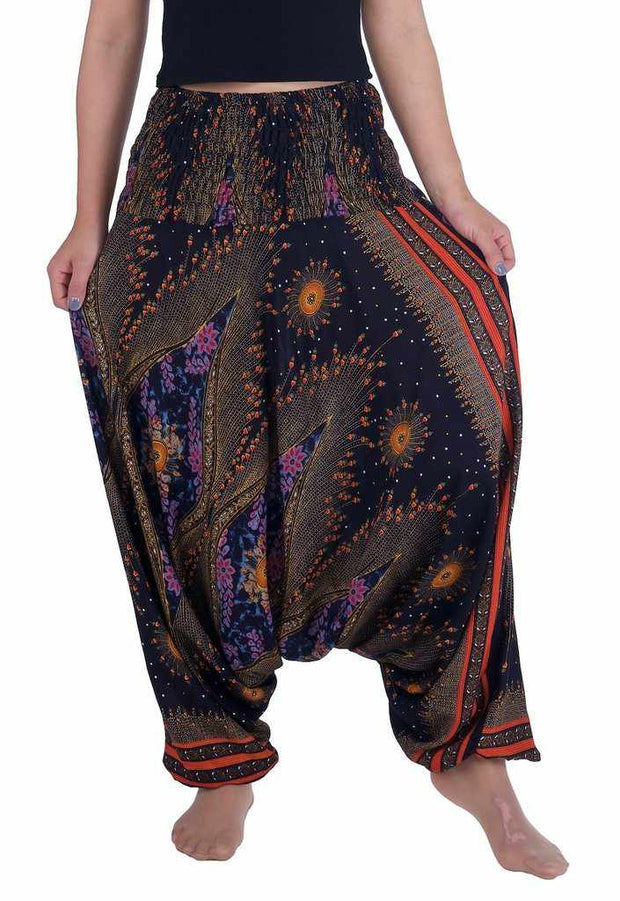 Flower Eye Harem Pants-Harem Jumpsuit-Lannaclothesdesign Shop-Small-Medium-Black-Lannaclothesdesign Shop