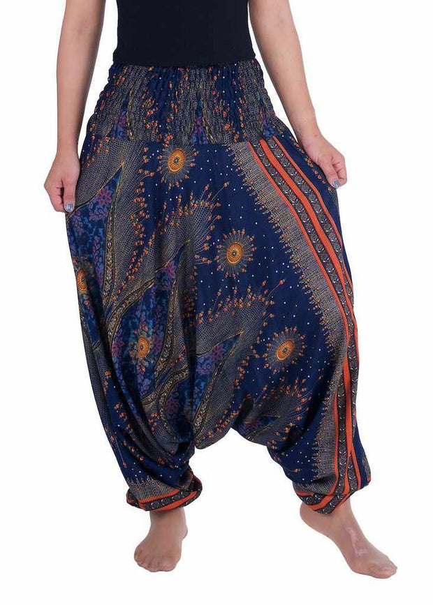 Flower Eye Harem Pants-Harem Jumpsuit-Lannaclothesdesign Shop-Small-Medium-Dark Blue-Lannaclothesdesign Shop