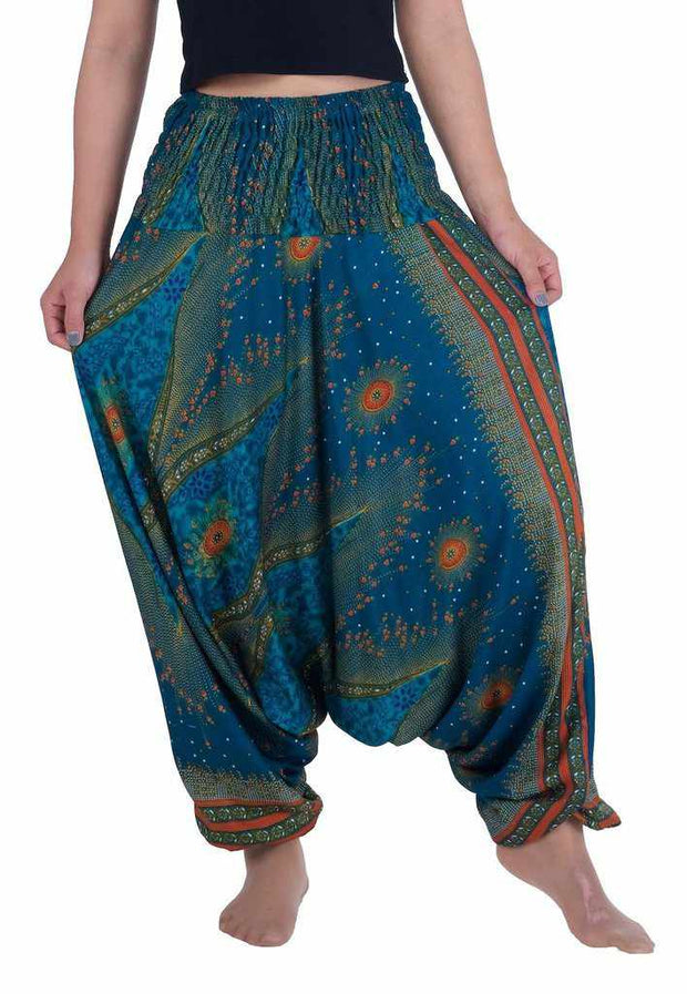 Flower Eye Harem Pants-Harem Jumpsuit-Lannaclothesdesign Shop-Small-Medium-Teal-Lannaclothesdesign Shop