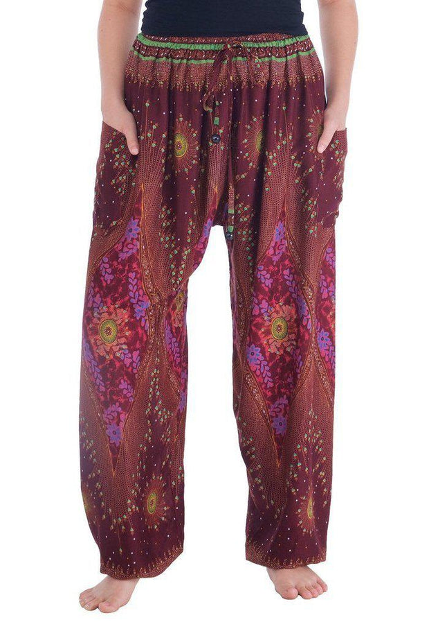 Flowy Drawstring Pants-Drawstring-Lannaclothesdesign Shop-Small-Burgundy-Lannaclothesdesign Shop