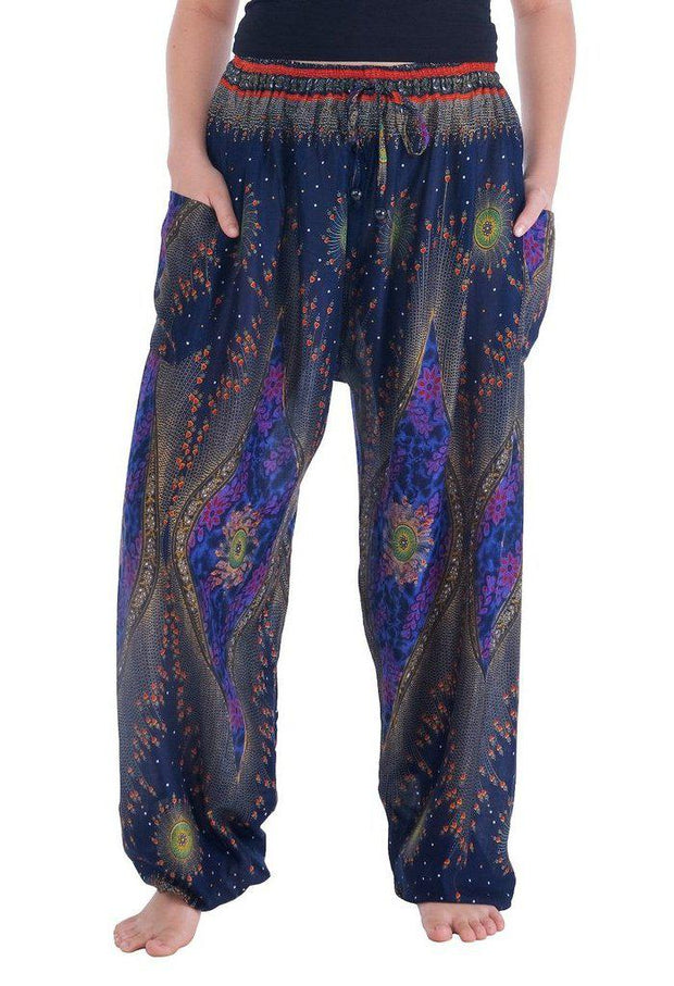 Flowy Drawstring Pants-Drawstring-Lannaclothesdesign Shop-Small-Dark Blue-Lannaclothesdesign Shop