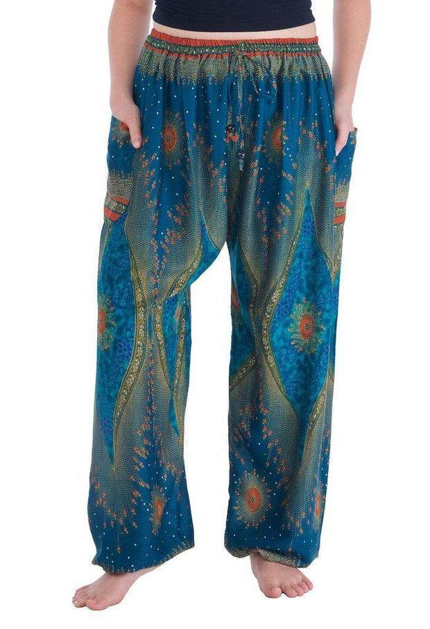 Flowy Drawstring Pants-Drawstring-Lannaclothesdesign Shop-Small-Teal-Lannaclothesdesign Shop