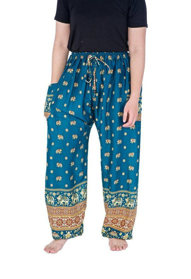 Flowy Elephant Drawstring Pants-Drawstring-Lannaclothesdesign Shop-Small-Teal-Lannaclothesdesign Shop