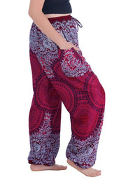 Geometric Mandala Harem Pants-Drawstring-Lannaclothesdesign Shop-Lannaclothesdesign Shop