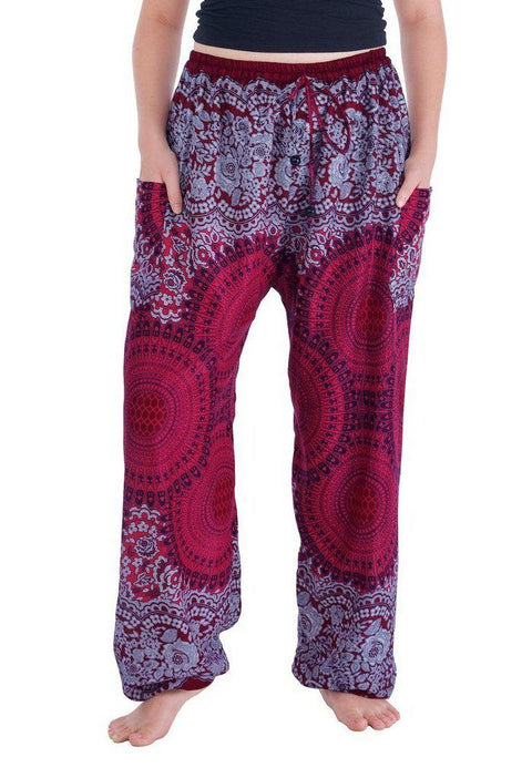 Geometric Mandala Harem Pants-Drawstring-Lannaclothesdesign Shop-Small-Burgundy-Lannaclothesdesign Shop