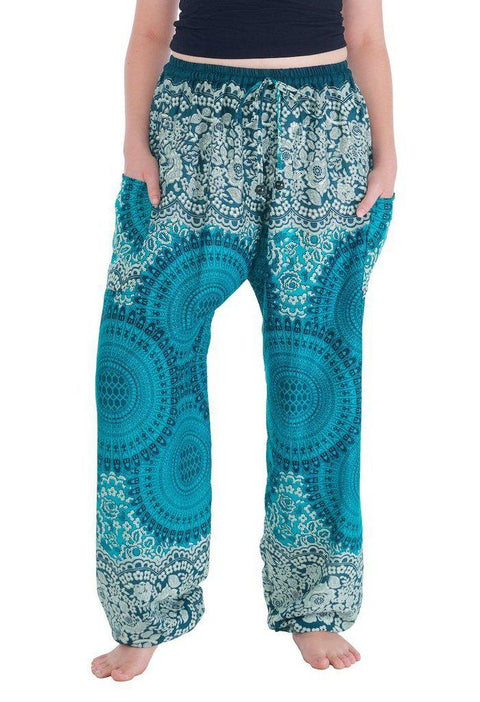 Geometric Mandala Harem Pants-Drawstring-Lannaclothesdesign Shop-Small-Teal-Lannaclothesdesign Shop