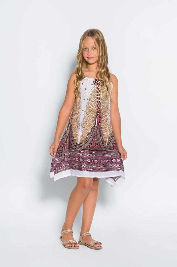 Girls Adjustable Peacock Dress-Girls Dress-Lannaclothesdesign Shop-White-Lannaclothesdesign Shop