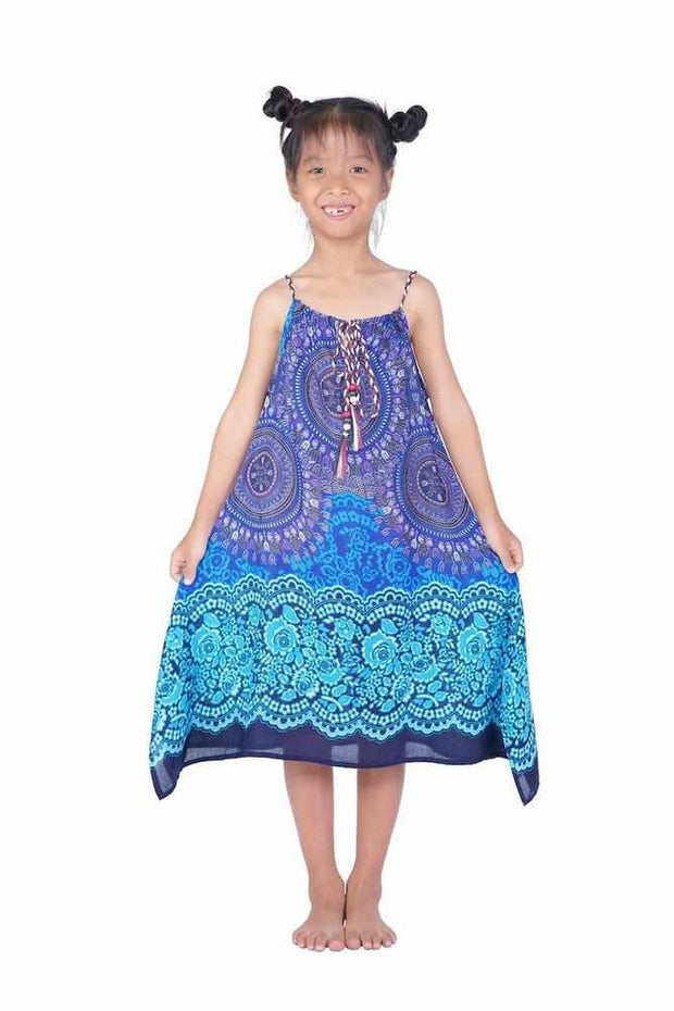 Girls Dress with Adjustable String-Girls Dress-Lannaclothesdesign Shop-Blue-Lannaclothesdesign Shop