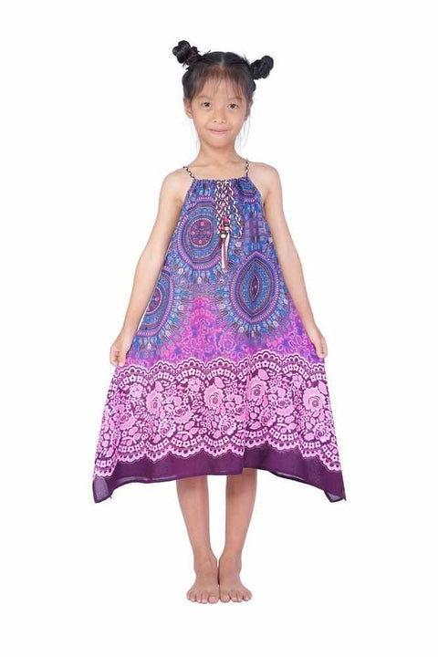 Girls Dress with Adjustable String-Girls Dress-Lannaclothesdesign Shop-Purple-Lannaclothesdesign Shop
