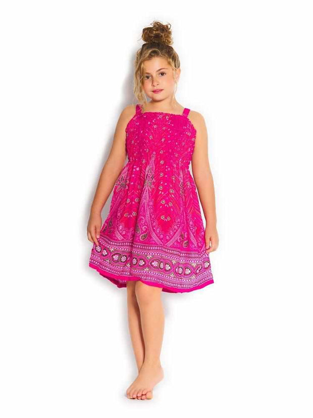 Girls Elastic Boho Dress-Girls Dress-Lannaclothesdesign Shop-Pink-2 Years-Lannaclothesdesign Shop