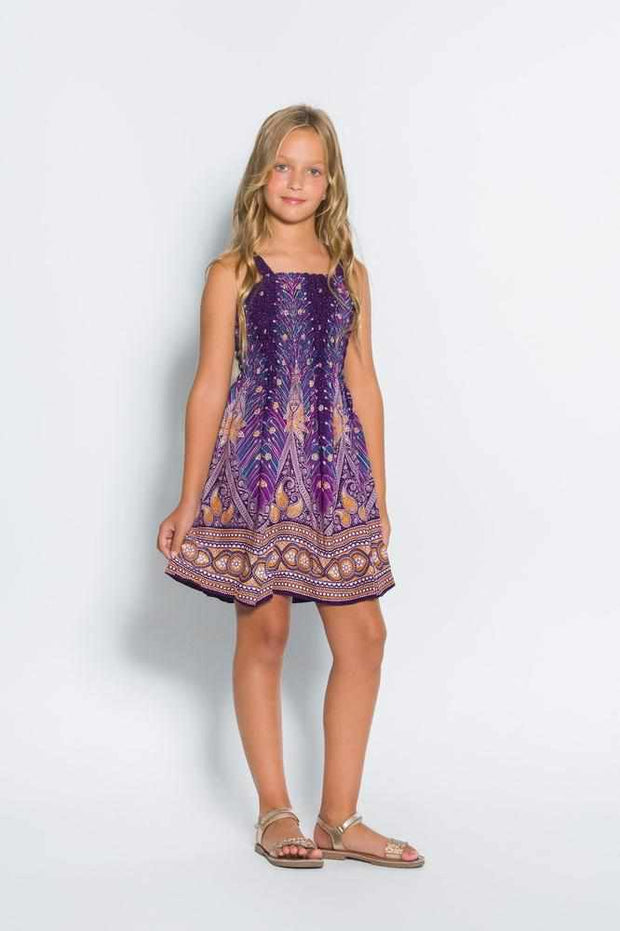 Girls Elastic Boho Dress-Girls Dress-Lannaclothesdesign Shop-Purple-2 Years-Lannaclothesdesign Shop