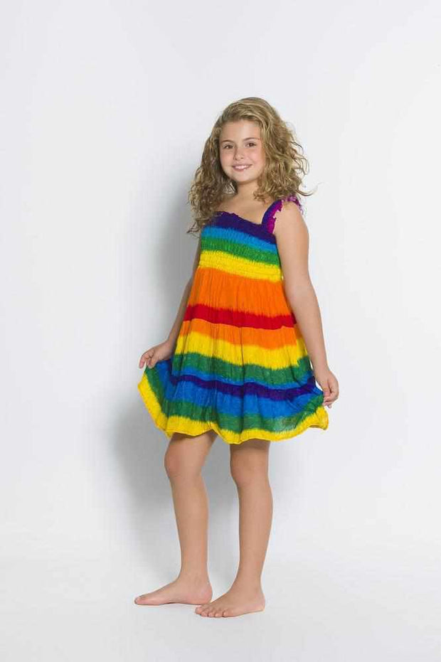 Girls Elastic Boho Dress-Girls Dress-Lannaclothesdesign Shop-Rainbow-2 Years-Lannaclothesdesign Shop