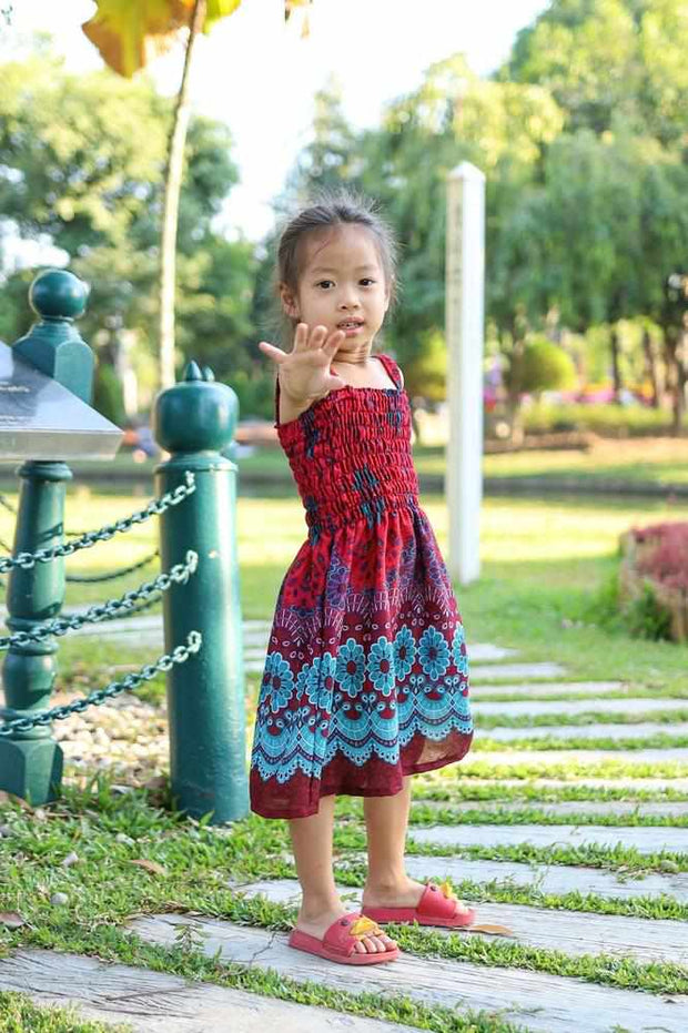 GIRLS SUMMER DRESS-Kids Boho Pants-Lannaclothesdesign Shop-2 Years-Red-Lannaclothesdesign Shop