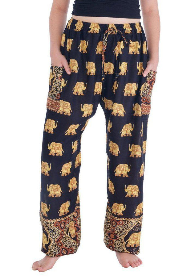 Gold Elephant Drawstring Pants-Drawstring-Lannaclothesdesign Shop-Small-Black-Lannaclothesdesign Shop
