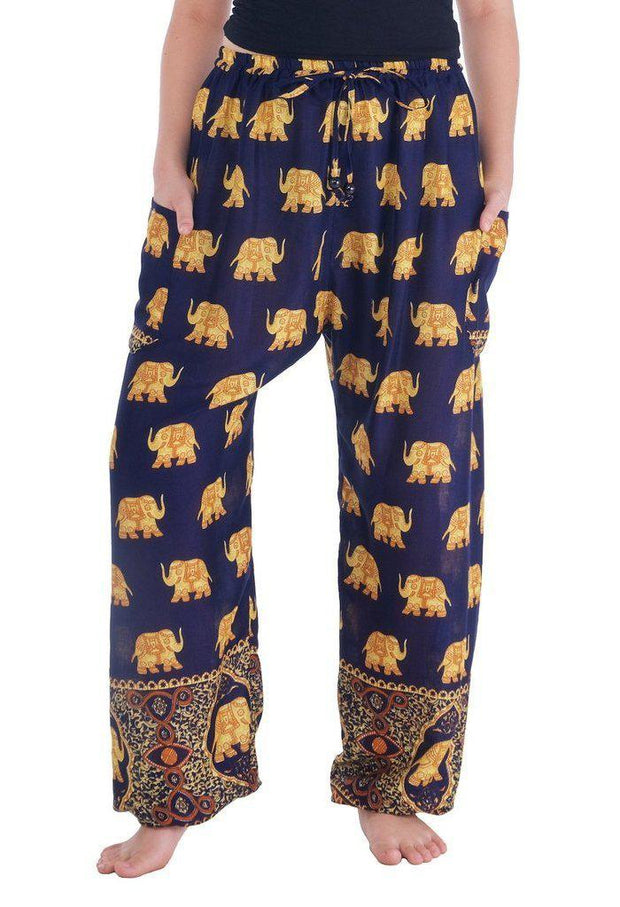 Gold Elephant Drawstring Pants-Drawstring-Lannaclothesdesign Shop-Small-Dark Blue-Lannaclothesdesign Shop