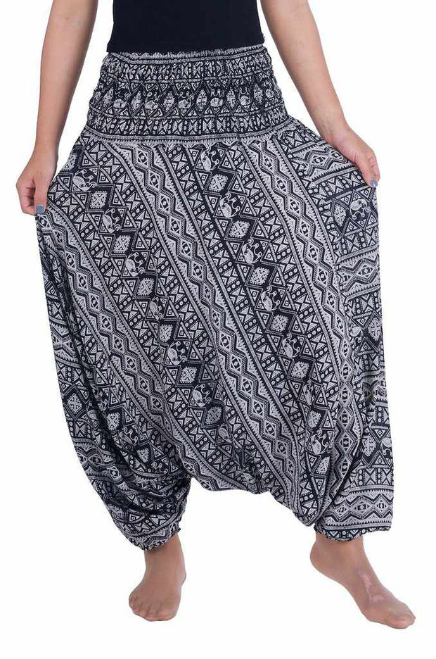 Gypsy Harem Pants-Harem Jumpsuit-Lannaclothesdesign Shop-Small-Medium-Grey-Lannaclothesdesign Shop