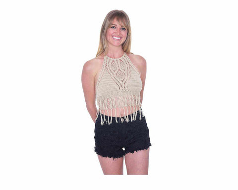 Halter Crochet Tops-Crochet Top-Lannaclothesdesign Shop