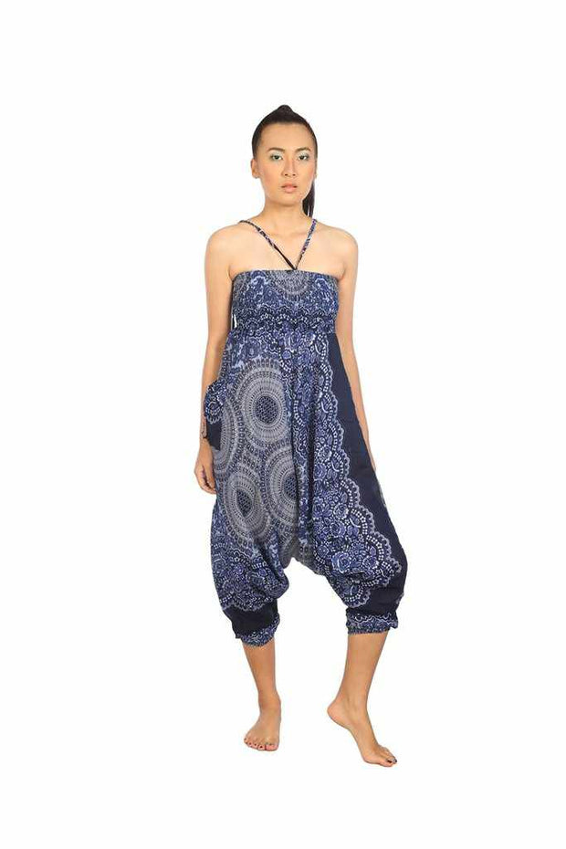 Harem Jumpsuit Pants-Harem Jumpsuit-Lannaclothesdesign Shop-Blue-Small-Medium-Lannaclothesdesign Shop
