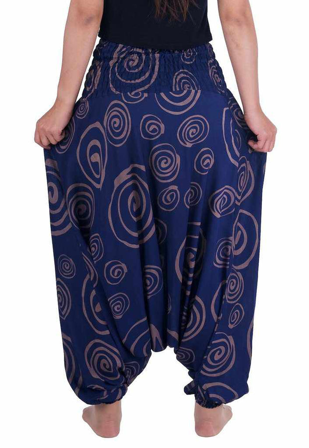 Harem Pants Circle Print-Harem Jumpsuit-Lannaclothesdesign Shop-Lannaclothesdesign Shop
