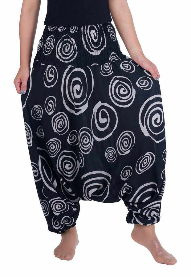 Harem Pants Circle Print-Harem Jumpsuit-Lannaclothesdesign Shop-Small-Medium-Black-Lannaclothesdesign Shop