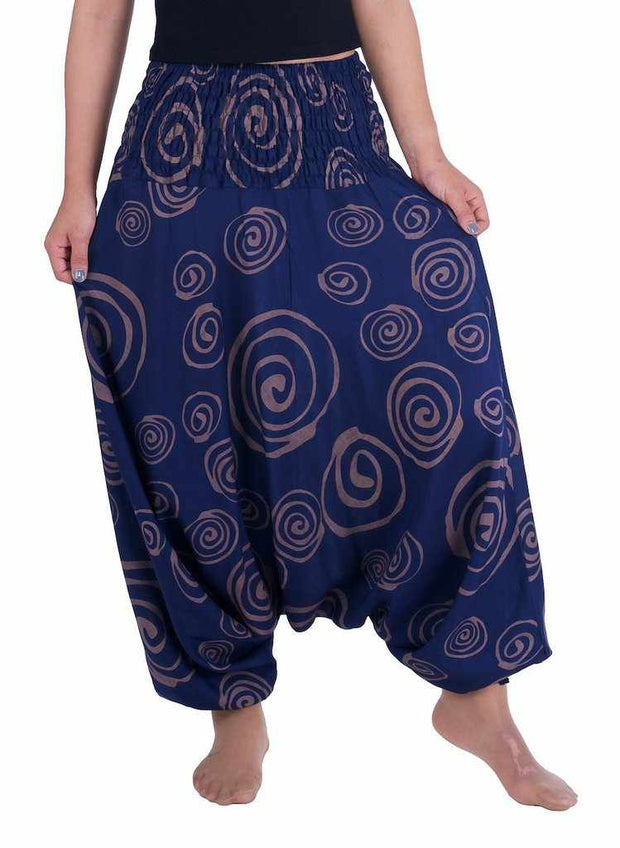 Harem Pants Circle Print-Harem Jumpsuit-Lannaclothesdesign Shop-Small-Medium-Dark Blue-Lannaclothesdesign Shop