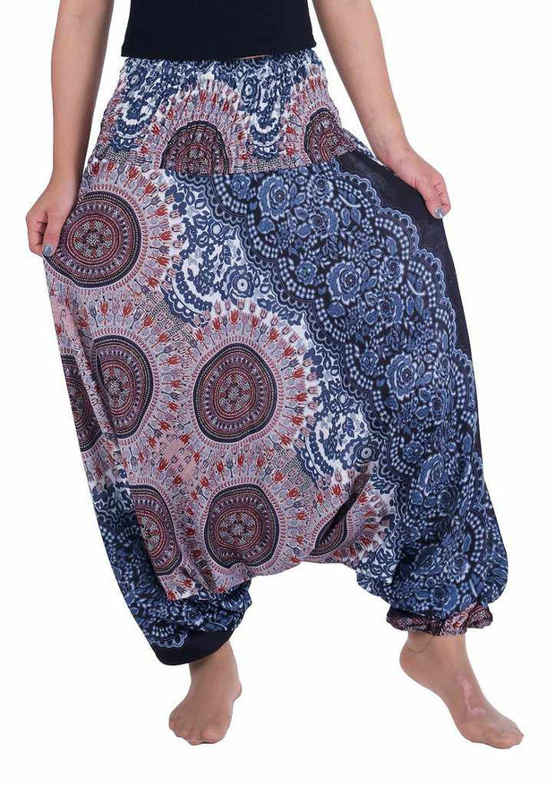 Harem Pants Mandala Print-Harem Jumpsuit-Lannaclothesdesign Shop-Small-Medium-Black White-Lannaclothesdesign Shop