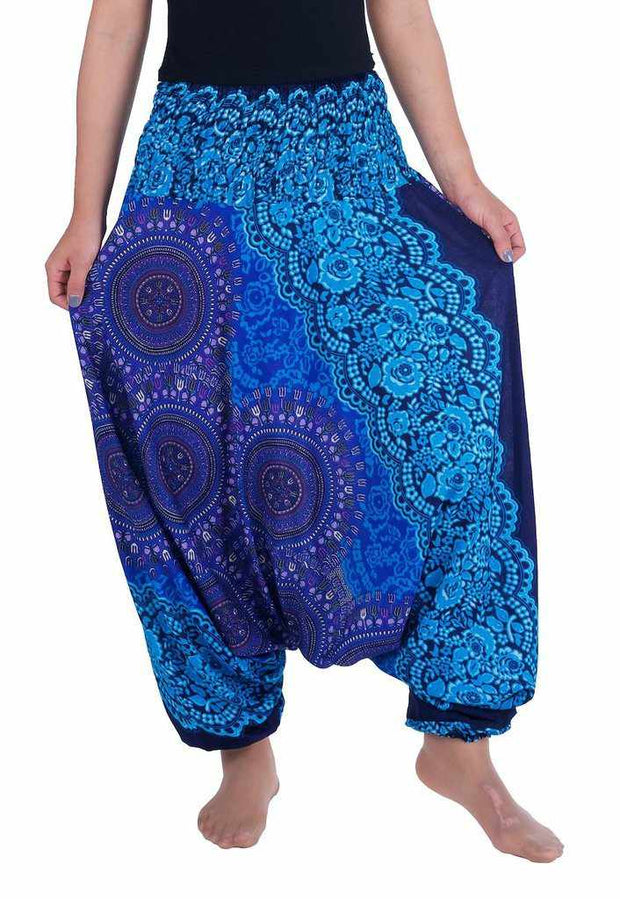 Harem Pants Mandala Print-Harem Jumpsuit-Lannaclothesdesign Shop-Small-Medium-Blue-Lannaclothesdesign Shop