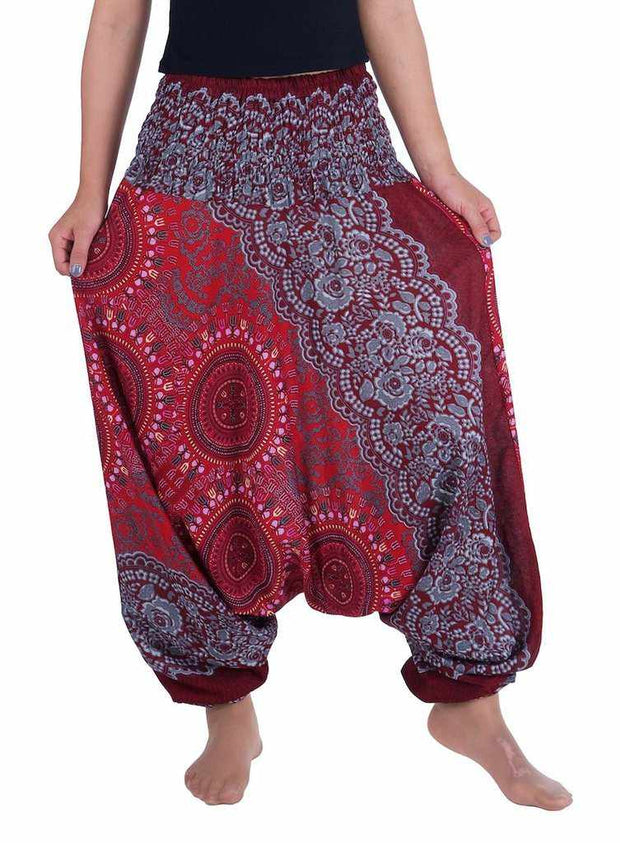 Harem Pants Mandala Print-Harem Jumpsuit-Lannaclothesdesign Shop-Small-Medium-Burgundy-Lannaclothesdesign Shop