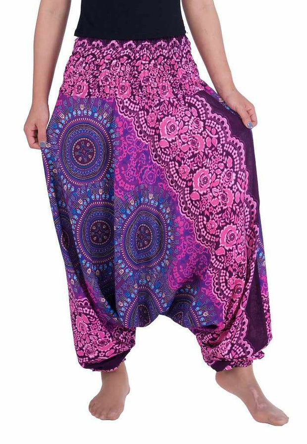 Harem Pants Mandala Print-Harem Jumpsuit-Lannaclothesdesign Shop-Small-Medium-Purple-Lannaclothesdesign Shop