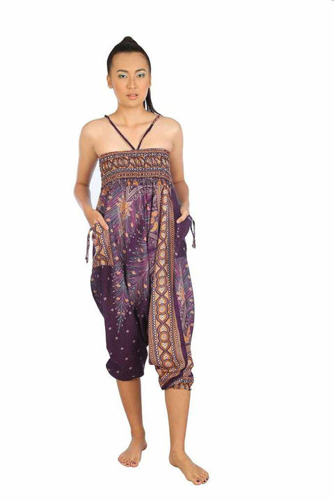 Harem Pants Peacock Print-Harem Jumpsuit-Lannaclothesdesign Shop-Purple-Small-Medium-Lannaclothesdesign Shop