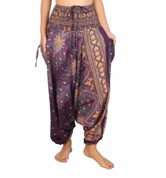 Harem Pants Peacock Print-Harem Jumpsuit-Lannaclothesdesign Shop-Lannaclothesdesign Shop