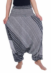 Harem Pants Striped Design-Harem Jumpsuit-Lannaclothesdesign Shop-Small-Medium-Black-Lannaclothesdesign Shop