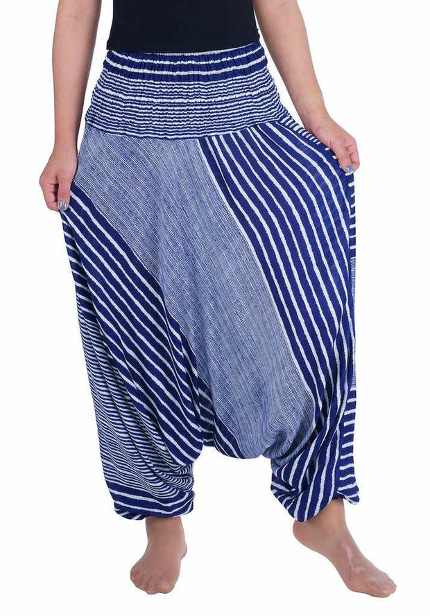 Harem Pants Striped Design-Harem Jumpsuit-Lannaclothesdesign Shop-Small-Medium-Dark Blue-Lannaclothesdesign Shop