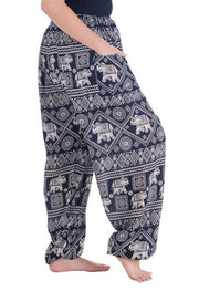 Harem Pants with Elephant Print-Drawstring-Lannaclothesdesign Shop-Lannaclothesdesign Shop
