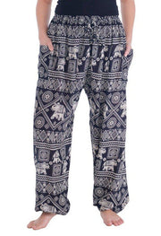 Harem Pants with Elephant Print-Drawstring-Lannaclothesdesign Shop-Small-Black-Lannaclothesdesign Shop
