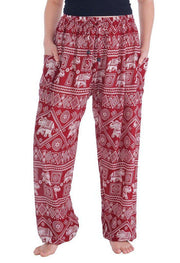 Harem Pants with Elephant Print-Drawstring-Lannaclothesdesign Shop-Small-Burgundy-Lannaclothesdesign Shop