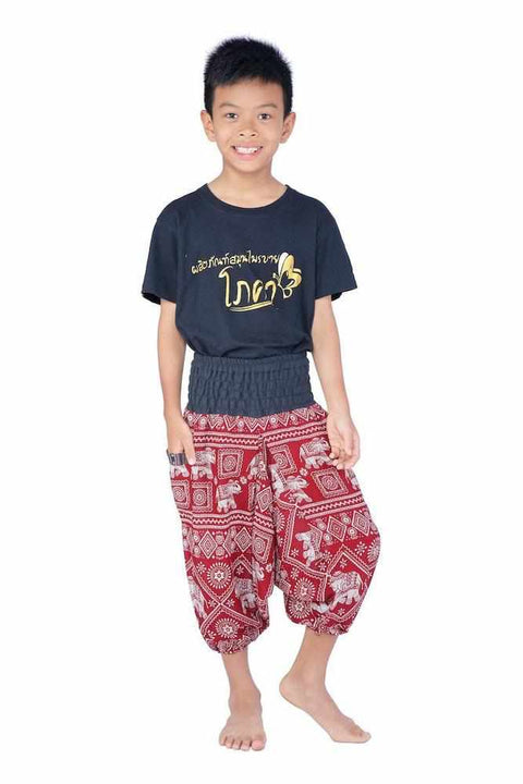 Kids Harem Jumpsuit Pants-Kids Jumpsuit-Lannaclothesdesign Shop-4 Years-Burgundy-Lannaclothesdesign Shop