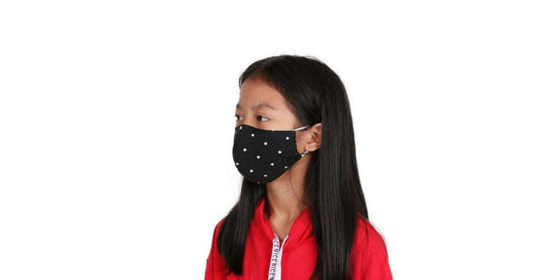 Kids Reusable Face Mask - Black Heart Cotton Mouth Mask with Filter Pocket-Face Mask-Lannaclothesdesign Shop-Lannaclothesdesign Shop