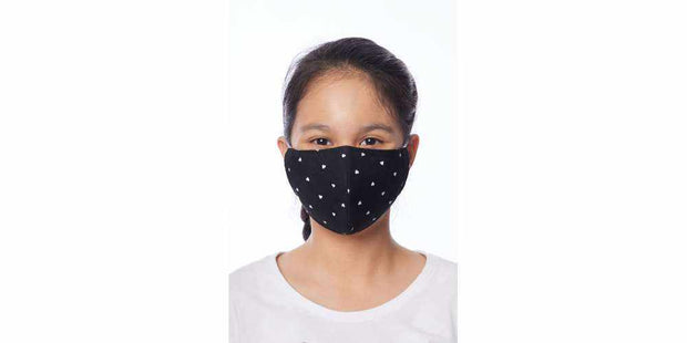 Kids Reusable Face Mask - Black Heart Cotton Mouth Mask with Filter Pocket-Face Mask-Lannaclothesdesign Shop-Age 2-4 Years-Black-Lannaclothesdesign Shop